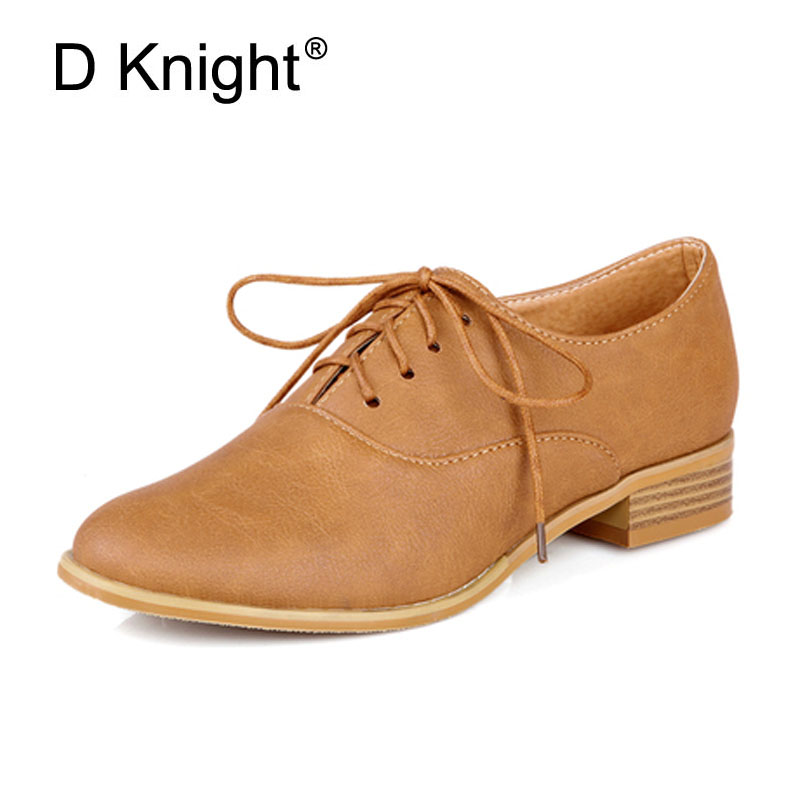 New 2017 Fashion Vintage Lace Up Women Flat Shoes British Style Oxford Shoes For Women Plus Size