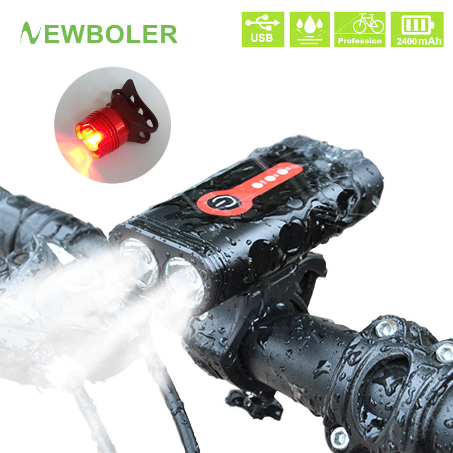 NEWBOLER 2400 Lumen Bike Light Set L2 Bicycle Lantern USB Chargeable Waterproof Cycling Lamp MTB Headlight LED Rear Front Light