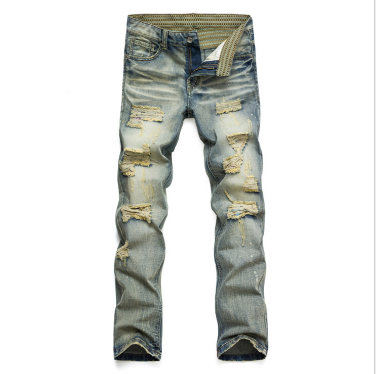 Fashion Vintage Mens Ripped Jeans Pants Slim Fit Distressed Hip Hop Denim Jogers Male Novelty Streetwear Jean Trousers J001 ripped distressed jean hombre slim fit denim overalls fashion mens biker casual hip hop long trousers calca jeans masculina