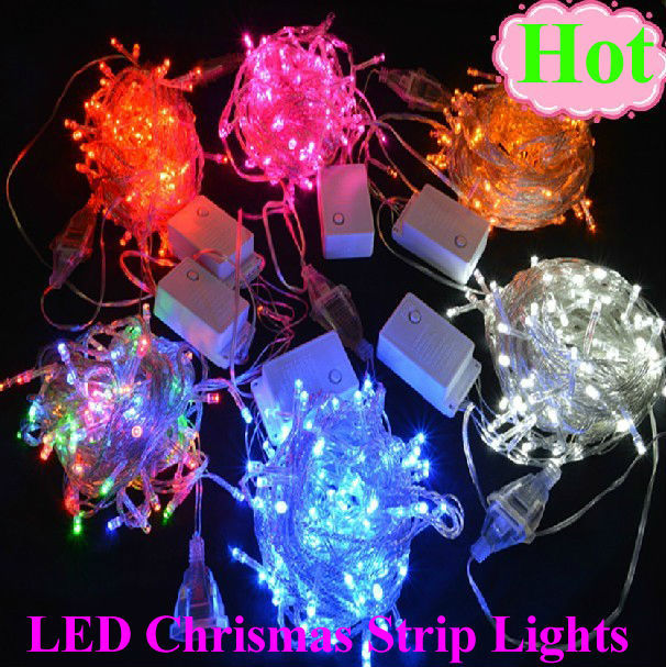 5pcs/lot 100 leds/10m cold white decorative string lights for Christmas party, christmas stripe ribbon Free shipping