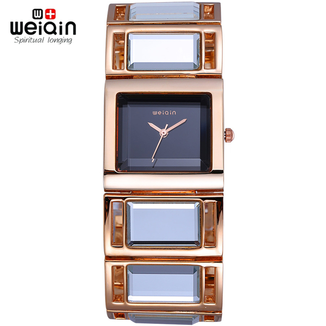 05779067ec7 WEIQIN Luxury Hardlex Gold Mirror Strap Women s Bracelet Watches Colorful  Shell Square Dial Fashion Watch Lady