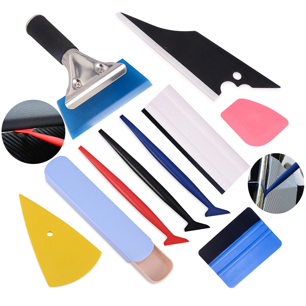 FOSHIO Car Accessories Carbon Fiber Vinyl Squeegee Scraper Car Wrap Tools Sticker Film Installation Window Tint Wrapping Tools-in Scraper from Automobiles & Motorcycles