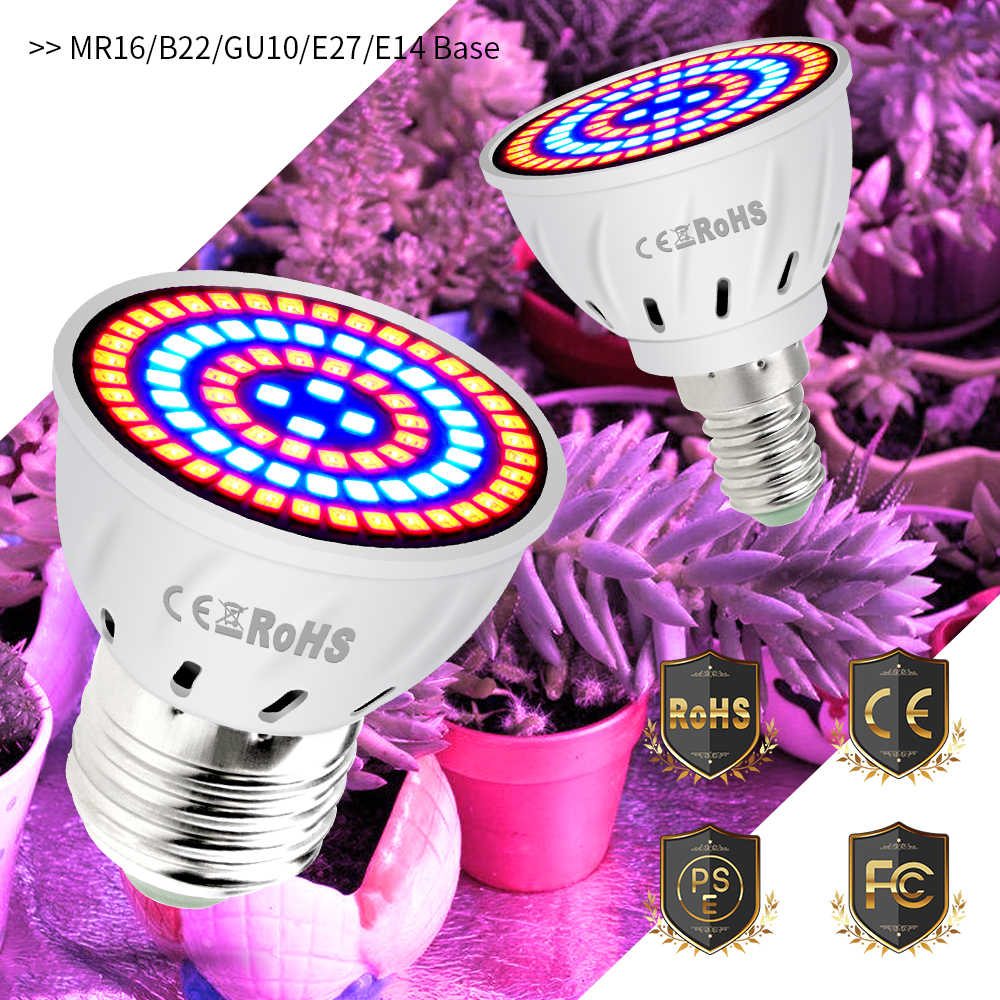 E27 LED Phyto-lamp E14 Full Spectrum LED Grow Light 220V MR16 Fitolampy LED Bulb GU10 Growing Lamp For Indoor Plants Seeds B22