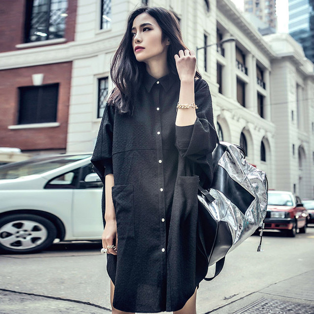 Street Style Black Woman: 2018 Spring Large Size Black Shirt For Women Street Style