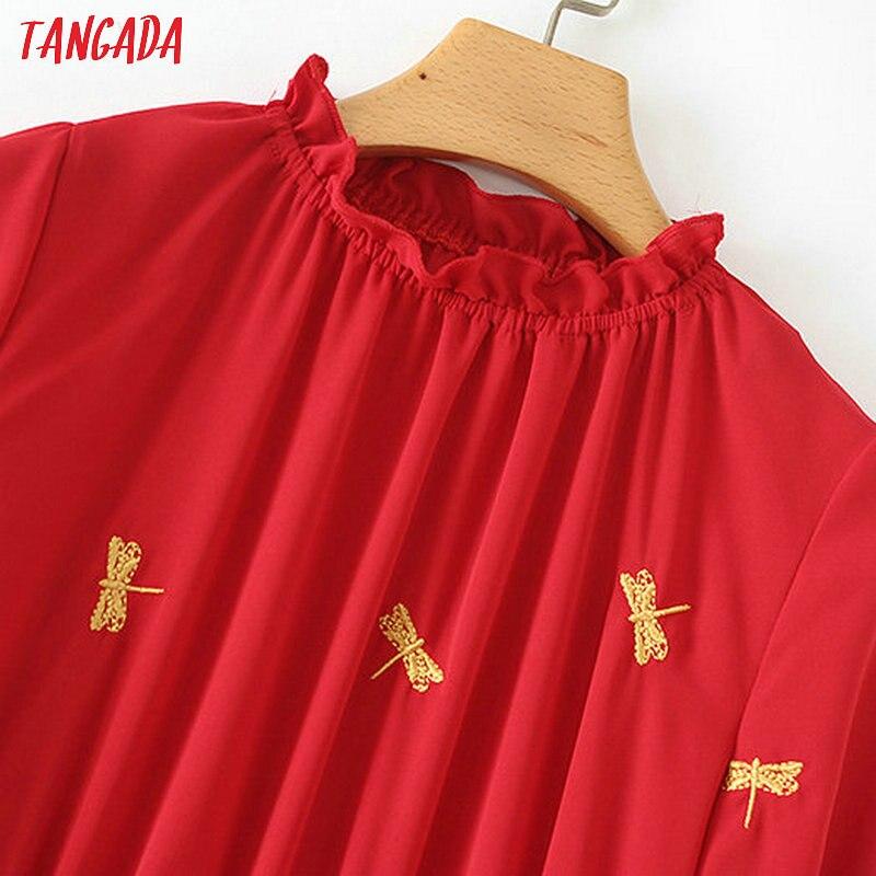 Flare Tangada Rojo Bordado Túnica De Xzh78 Soporte Manga Falda Midi Señoras Mujeres Cuello Las Vestido Vestidos 7UxrTq7