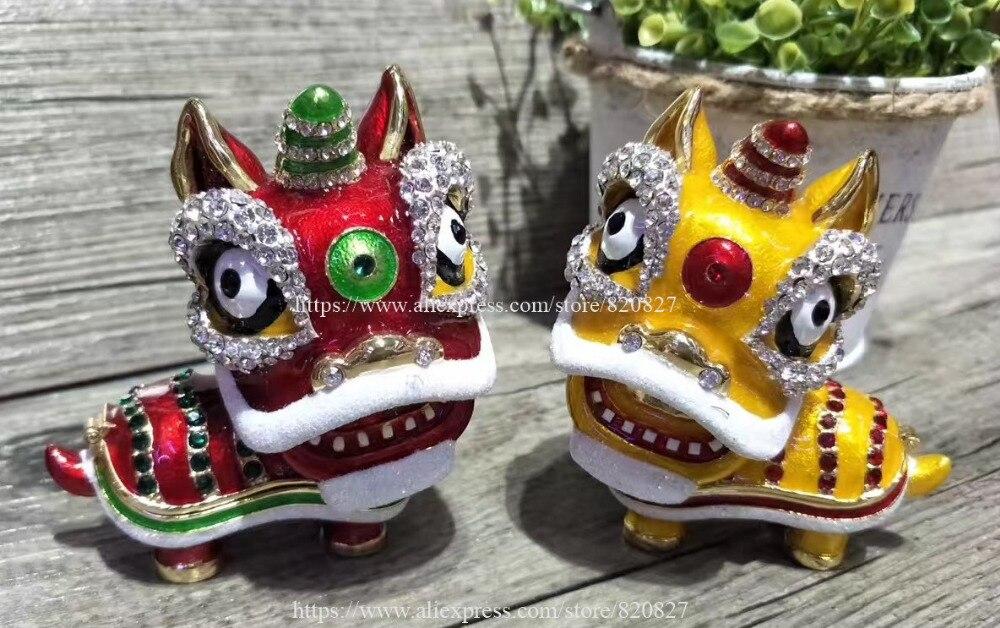 купить Pewter Lion Shape Trinket Box Animal Jewelry Box Modern Home Decorative Couple Lion Dragons Bejeweled Statue Trinket Box 2 pcs по цене 3943.86 рублей