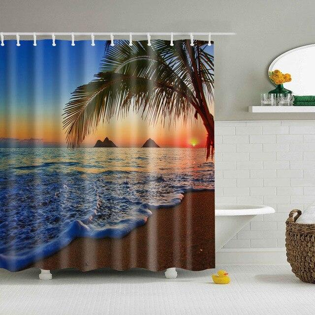 Luxury Smart Sea Wave Coco Shell Sandbeach Shower Curtains Custom Design Curtain Bathroom Waterproof Polyester