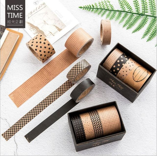 Kraft Square Washi Tape Ribbon Available in 4 Patterns