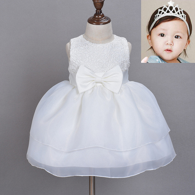 eb7aa0916a75a Newborn Baby Girl Pageant Dress Princess Wedding Party Ball Gown Formal Prom  Dresses (+ Crown