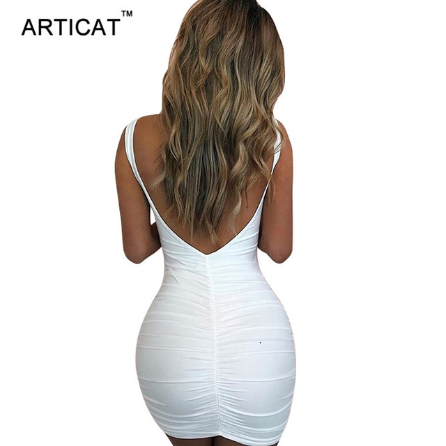 Articat Sexy Backless Bodycon Dress Women V Neck Sleeveless Sheath Pencil Bandage Mini Dress Casual Club Party Dress Vestidos