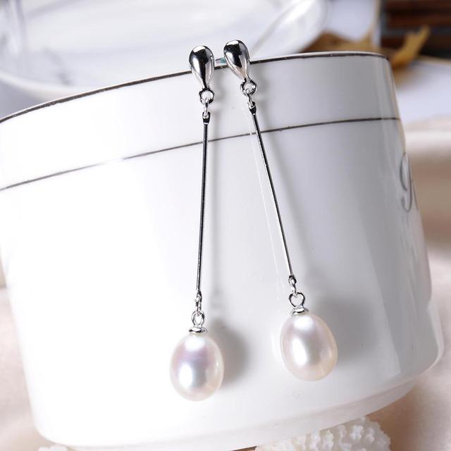 100% oryginalne kolczyki perłowe dla kobiet wysokiej jakości 925 Sterling Silver długie kolczyki słodkowodne perła Biżuteria pudełko E001