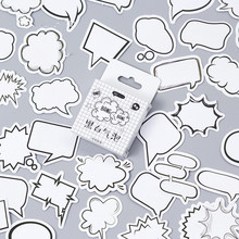Купить с кэшбэком Paper black white dialogue shape Cute Stationery Sticker Diy Cartoon For Planner Scrapbooking Diary School Office Supplies Gift