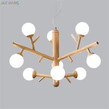 Nordic Modern Solid Wood Pendant Lights for Dining Room Bedroom Living Table Magic Bean Molecular Hanging Lamps Fixture
