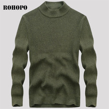 ROHOPO Design military men o-neck solid 100% cotton sweater,long sleeve pullover motorcycle knitted under wear army red blue