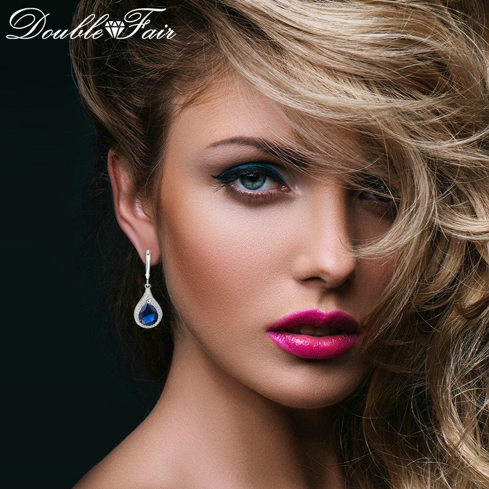 Double Fair Exaggerated Blue Teardrop Stone Drop / Dangle Earrings For Women Silver Color Fashion Jewelry Women's Earing DFE824 teardrop decorated hook drop earrings