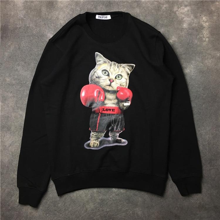 New 2017 Baolideng High Men Love Boxing Cat Hoodies Hoody hooded Sweatshirts velvet Cotton Drake Thicken Fleece #E42