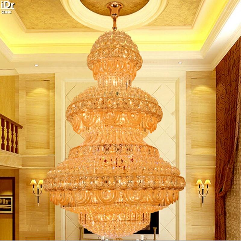 ⑥Cristal amarillo redondo villa de lujo Villa ático lámpara grande ...