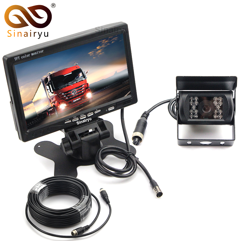 Sinairyu Vehicle IR LED Back up Reverse Camera 4-pin Connector + 7 LCD Color TFT Rear View Monitor 800*480 for Bus Truck RV