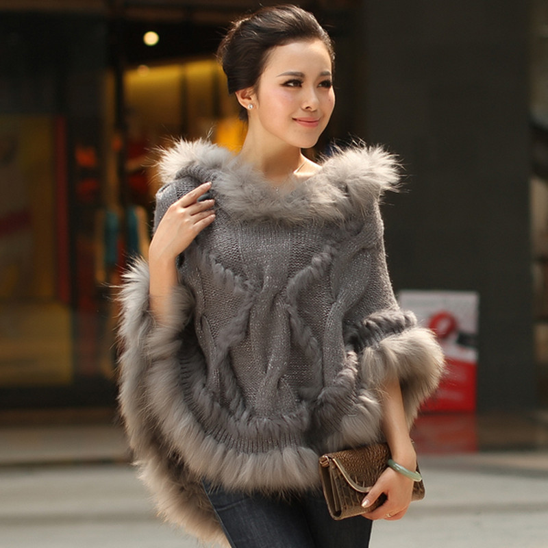 New  Autummn Winter Fur Pashmina Womens Fur Shawls Handmade Knitted Rabbit Fur Poncho Shawls Female Party Pullover