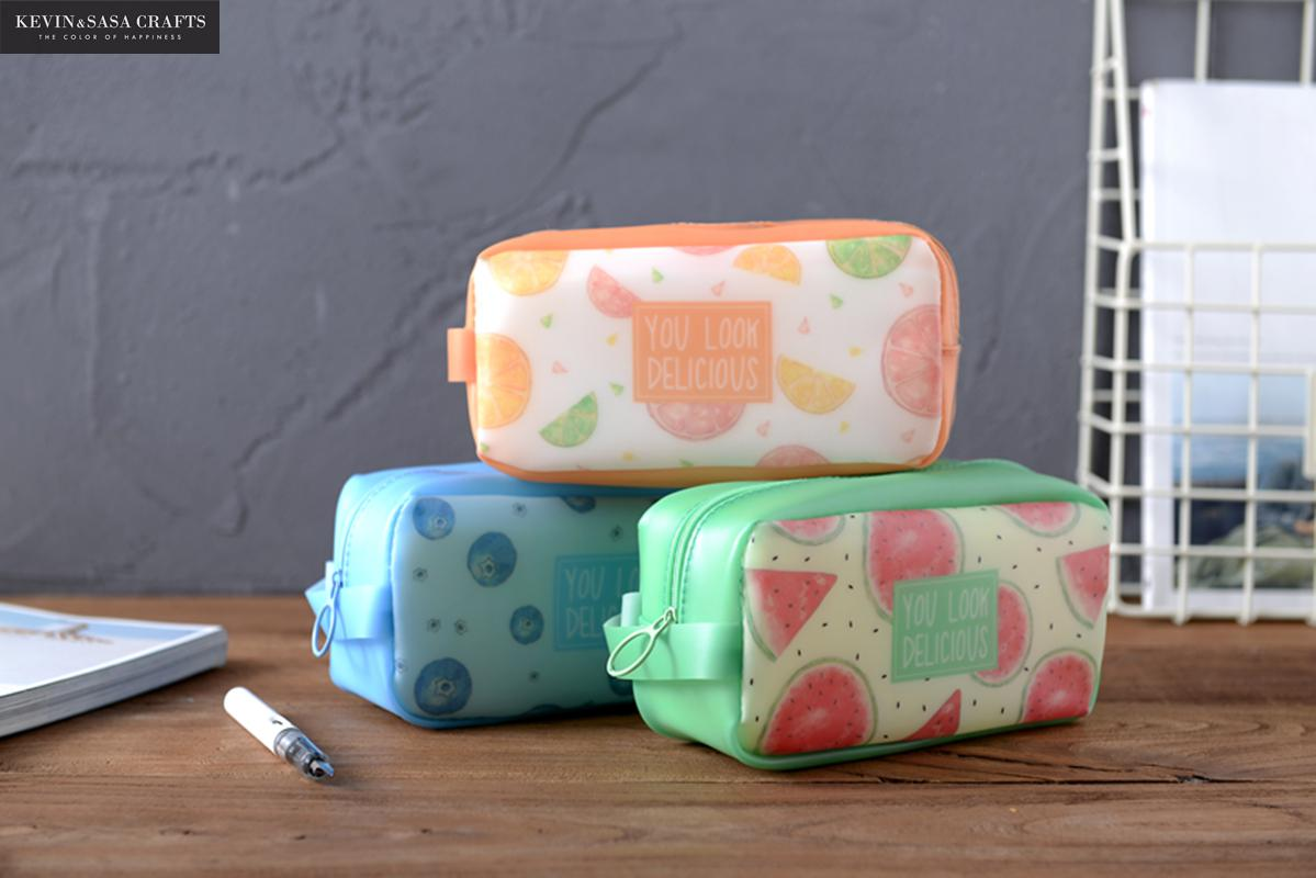 Fruits Pencil Case Big Silica Gel School Supplies Bts Stationery Gift School Cute Pencil Box Pencilcase Pencil Bag School Tools коляска anex anex коляска 3 в 1 cross safari