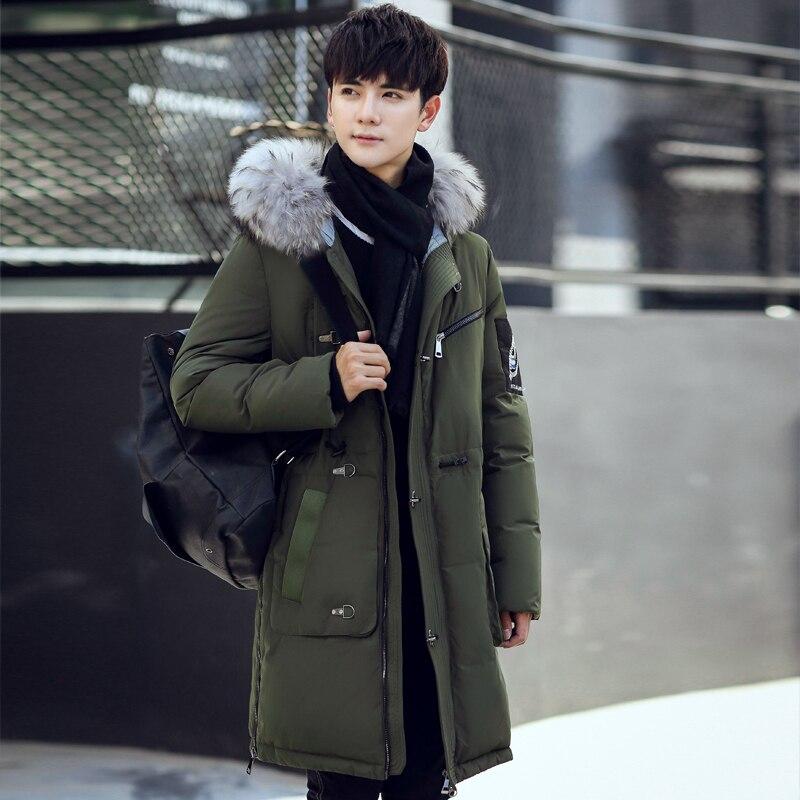 2016 winter font b men s b font Hooded leisure fashion fox collars 80 White duck