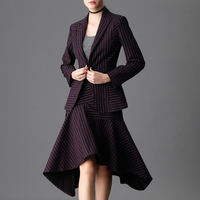 Women single button striped print blazer top + asymmetry sexy skirt suit formal business work office two pieces suit 7344
