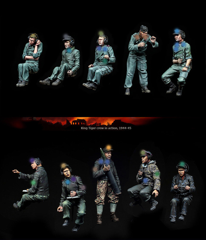 Unpainted Kit 1 35 Uncolor gk Armored panther crew 10 soldiers Resin Figure miniature garage kit