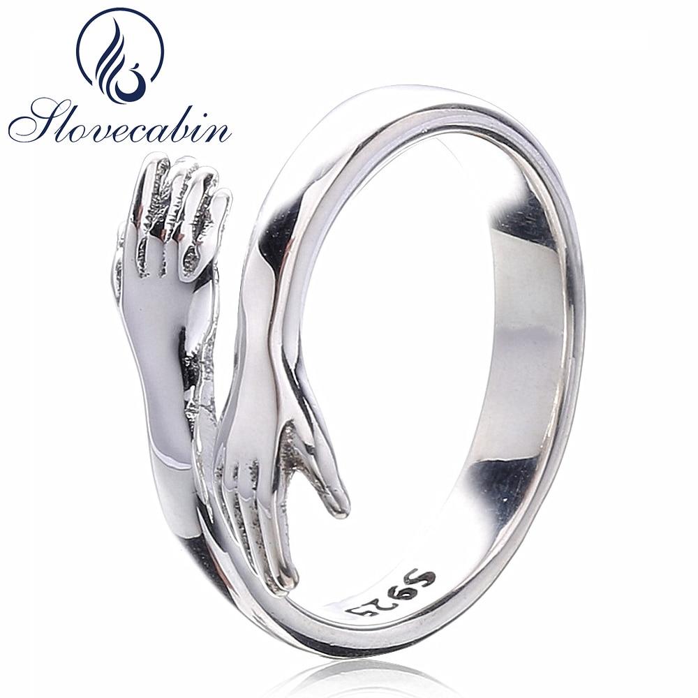 Slovecabin original 925 prata esterlina anéis de festa me dar um abraço ajustável senhor dos anéis de casamento feminino para o casal amante