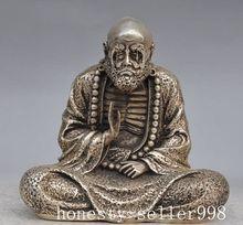 Christmas gifts  China Buddhism Temple silver copper Bodhidharma damo Dharma Buddha Statue