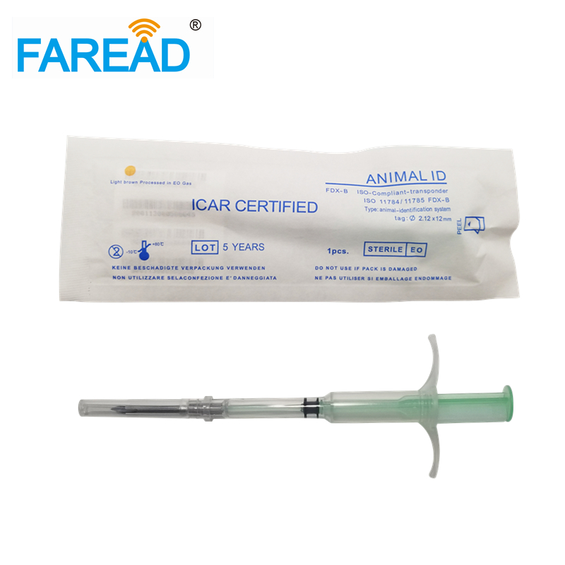 Free Shipping Microchipped Syringe RFID Animal Microchip Injector With Glass Tag 2.12x12mm 134.2KHz Standard