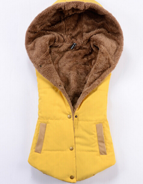 Autumn and winter hot women 's new coral velvet fashion wild hooded vest wholesale Outerwear & Coats