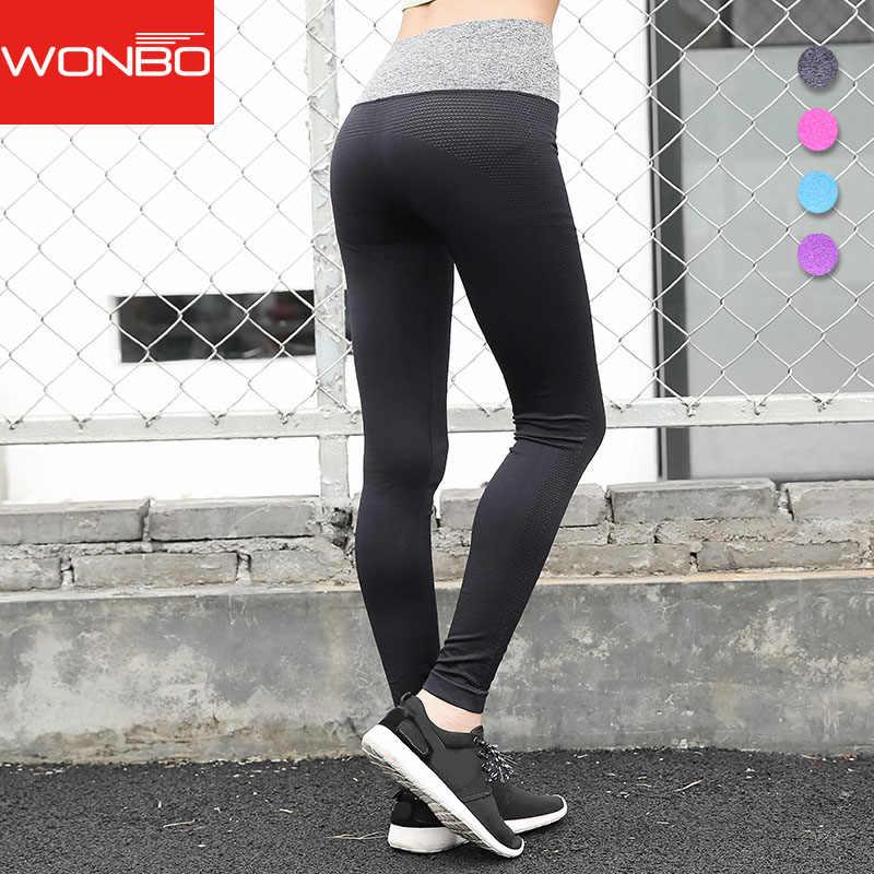 Wonbo Для женщин высокие эластичные Фитнес Спорт Леггинсы для Кальсоны йоги тонкий