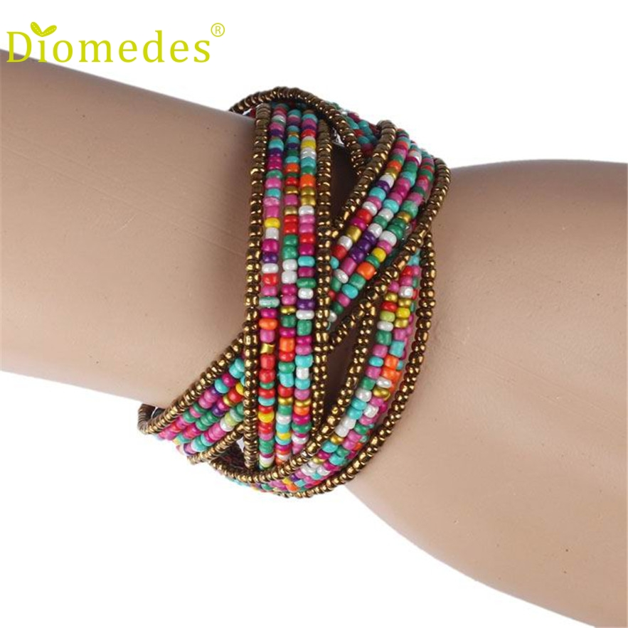Stylish Jewelry Bar Store Diomedes 1PC New Fashion Lady Bohemian Beaded Bangle Bracelet Multilayer Jewelry Charm Leather Casual Bracelet #0222