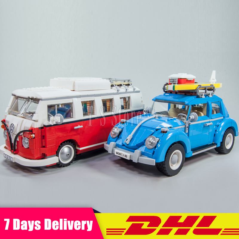 2018 DHL LEPIN 21001 1354Pcs Volkswagen T1 Camper Van+LEPIN 21003 1193Pcs Car Beetle Model Building Kits Set Clone 10220 10252 lepin 21003 series city car beetle model building blocks blue technic children lepins toys gift clone 10252