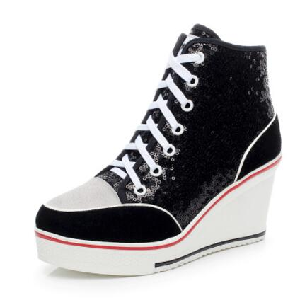 Plue Size Height Increasing Wedges Lace Up Flats Casual Ankle High Top Sliver Canvas Shoes Glitter Sequins Women Casual Shoes