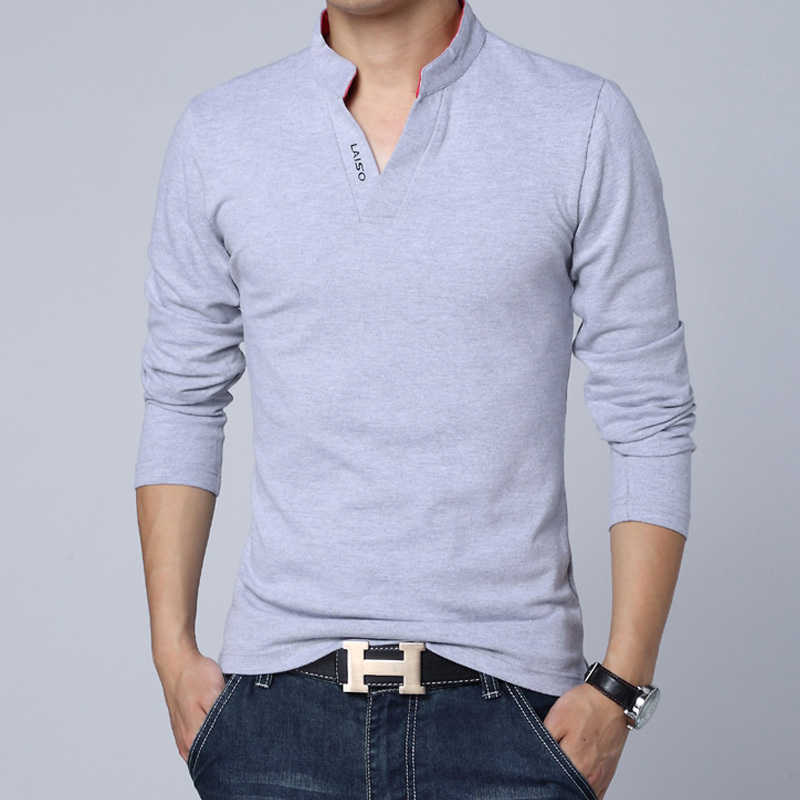 High Quality New Brand Polo Shirts Men Slim Solid Color Long Sleeved