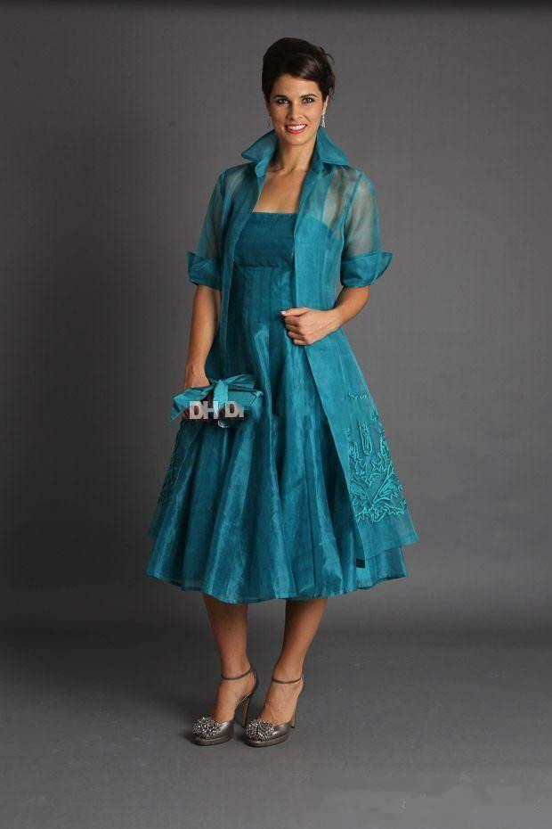 Plus Size 2019 Mother Of The Bride Dresses A-line With Jacket Tulle Groom Short Wedding Party Dress Mother Dresses For Wedding