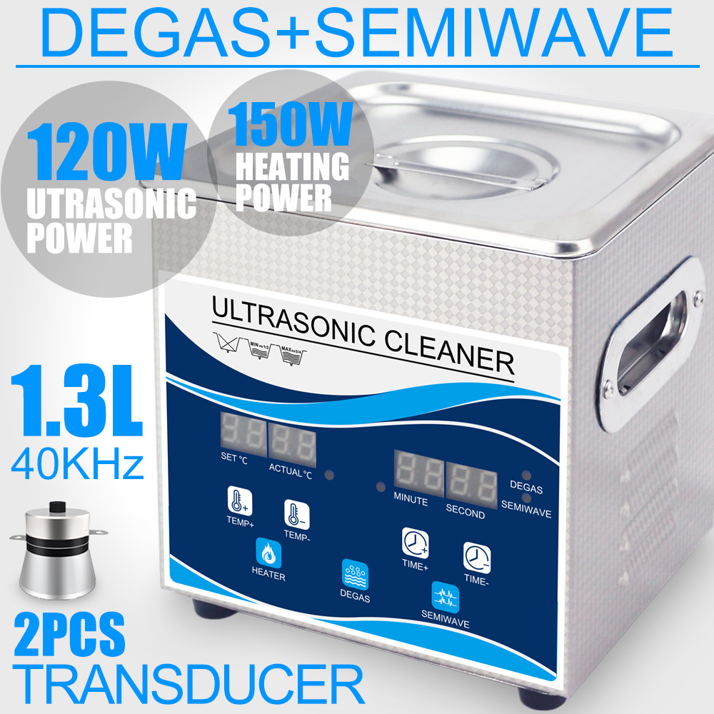 1.3L 120W/60W Digital Timer Heater Ultrasonic Cleaner With Degas 28/40KHZ Double Wave Jewelry Tableware Ring Gun Bullets Shell