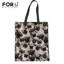 FORUDESIGNS Linen Women Totes Handbags Cute Pug Dog Printing Environmental  Protection Shopping Bags For Teenager Girl Cloth Bags 6ff384867b276