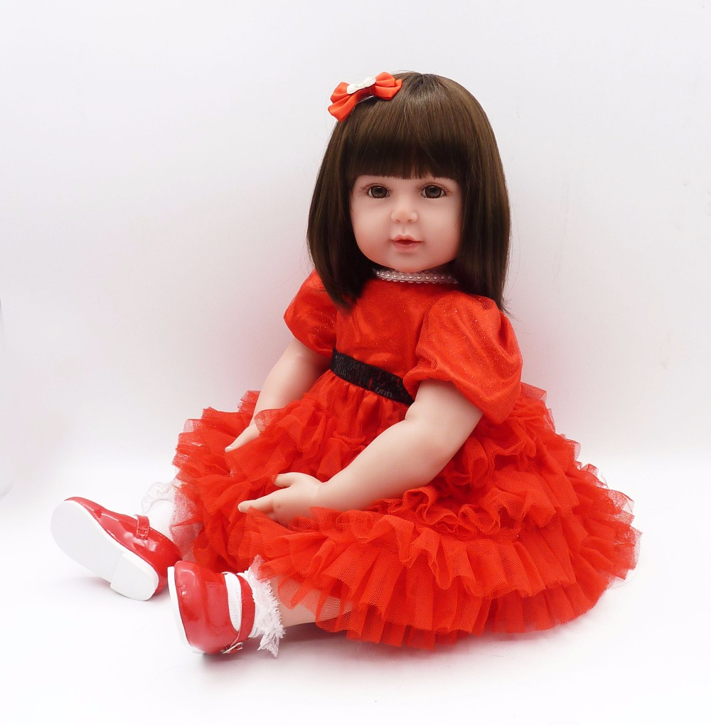silicone baby doll 56cm American Russian girl Smiling bebe 22Inch Kids Playmate Gift for Girls Baby Alive Soft Toys for Bouquets pink wool coat doll clothes with belt for 18 american girl doll