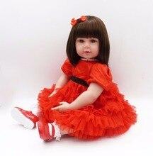silikon baby docka 56cm amerikansk rysk tjej leende bebe 22Inch barn lekkompis gåva till flickor baby levande mykt leksaker för buketter