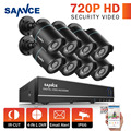 SANNCE 8CH 720P HD 4 in1 TVI DVR 8 Pcs 1200TVL Outdoor CCTV Camera Home Security System