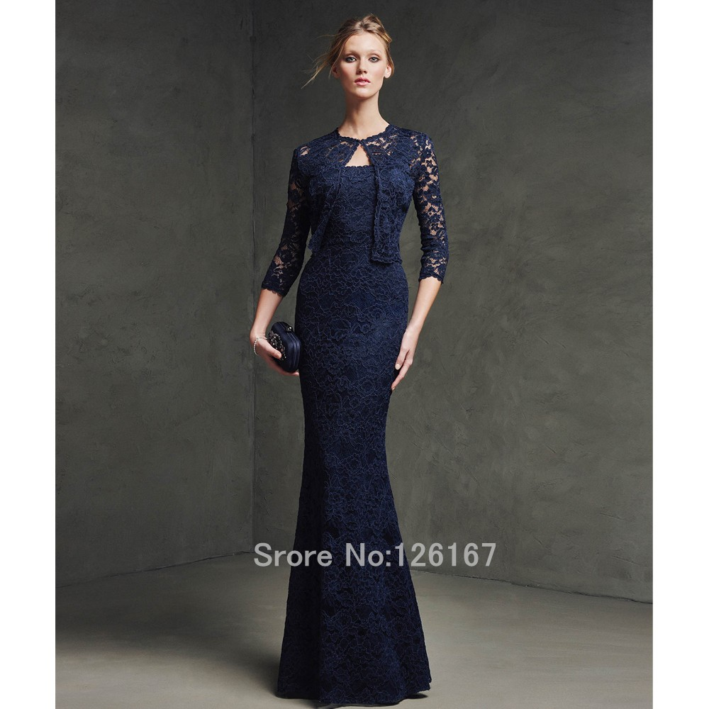 Midnight Blue 2017 Evening Dress With jacket Lace evening dresses ...