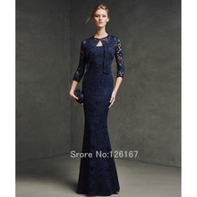 Midnight Blue 2017 Evening Dress With jacket  Lace evening dresses mermaid tank long formal evening gowns dress CGE137