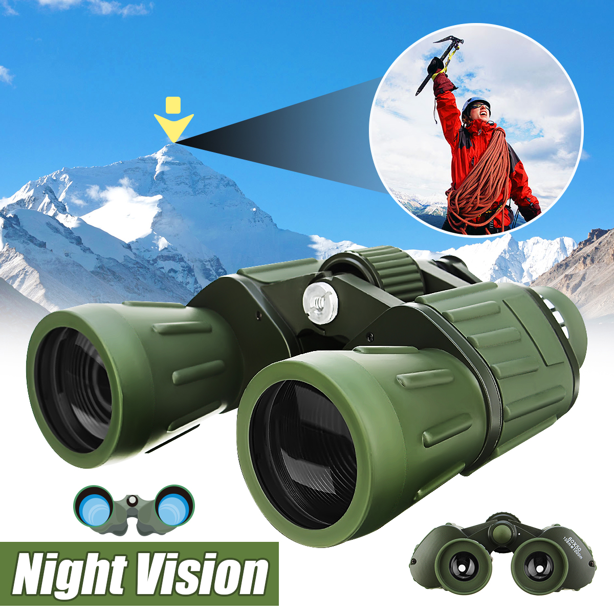 SGODDE 60x50 Night Vision HD Binoculars Military Zoom Powerful Adjustment Outdoor Hunting Optics Astronomical Telescope