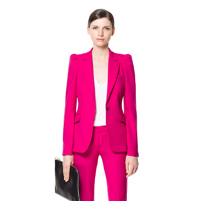 Fuchsia Women Office Business Suits Uniform Styles Fashion Elegant Pant Suits Slim Fit Formal Work Wear Sets Female Touser Suits