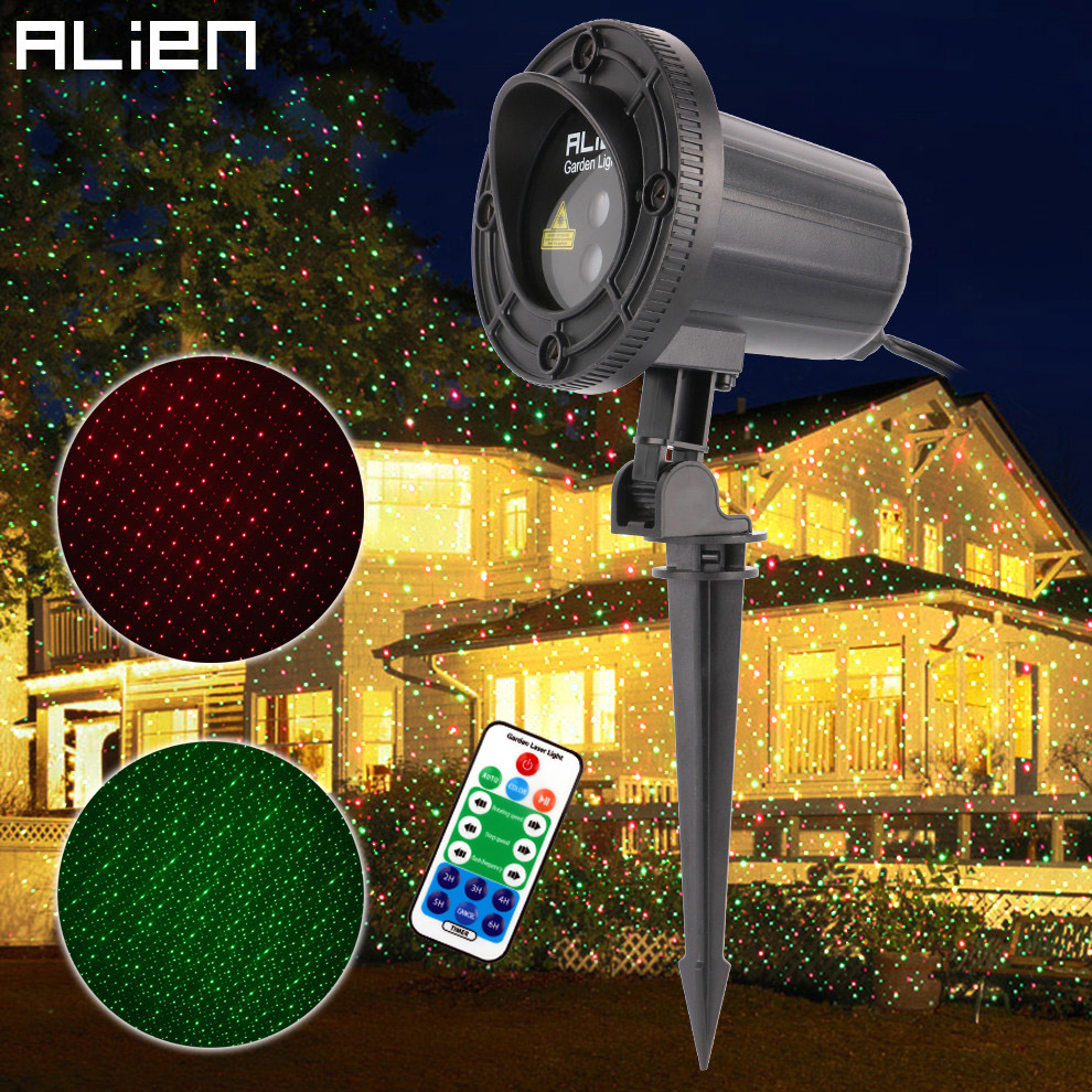 ALIEN Red Green Motion Star Dots Xmas Laser Light Show Projector Christmas Tree Party Outdoor Garden Waterproof Remote Lighting beautiful alumium ip67 outdoor eu us uk plug tree garden party festival christmas decoration green red mini led laser light
