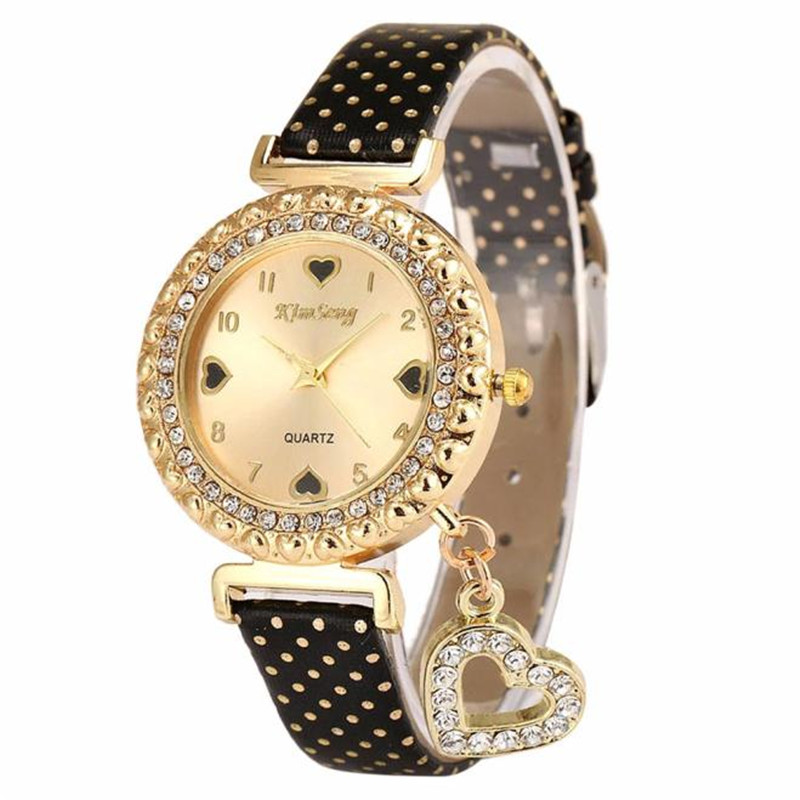 2018 Dress Watch Women Reloj Mujer Heart Watches Leather Rhinestone Crystal Quartz Wristwatch relogio feminino 2015 reloj mujer xr527