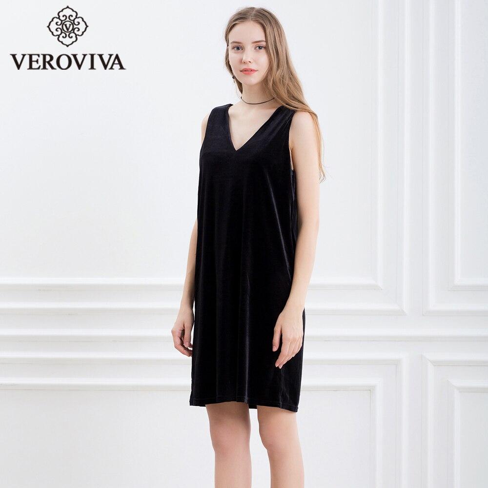 0c10da34b7fc VEROVIVA Autumn Velvet Dress Women Solid Black V neck Sleeveless Straight  Midi Dress Casual Sexy Slim Party Dress Female-in Dresses from Women's  Clothing on ...