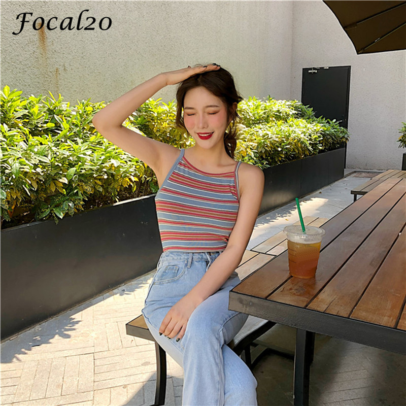 Focal20 Streetwear Slim Rainbow Stripes Women Knitted Camis   Top   Summer Straps Hit Color Female   Tank     Top